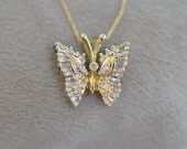 10K Yellow Gold Diamond Butterfly Pendant.  Free Shipping in the U.S.