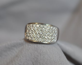 14K White Gold Pave Set Diamond Ring.  Free Shipping in the U.S.