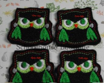 Evil Owl felties - Halloween - Machine embroidered - felt applique - felt embellishments - hairbow center