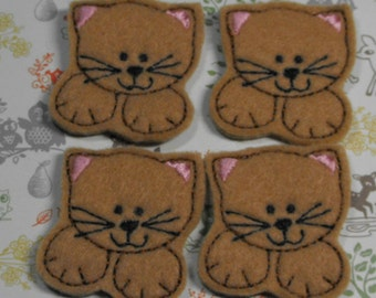Tan Kitty Cat felties, felt paper clip, badge reel, felt brooch, felt bookmark, planner clip, felt hair clip, key chain