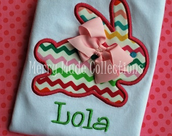 Easter Bunny with Bow Appliqué/Monogrammed Shirt - Holiday and Easter