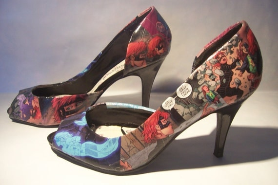 recycled comic book high heel shoes by kwerki on etsy