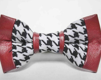 Houndstooth Red Leather Bow TIe