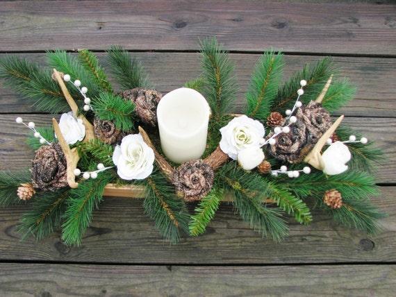 Camo deer antler candle centerpiece wedding