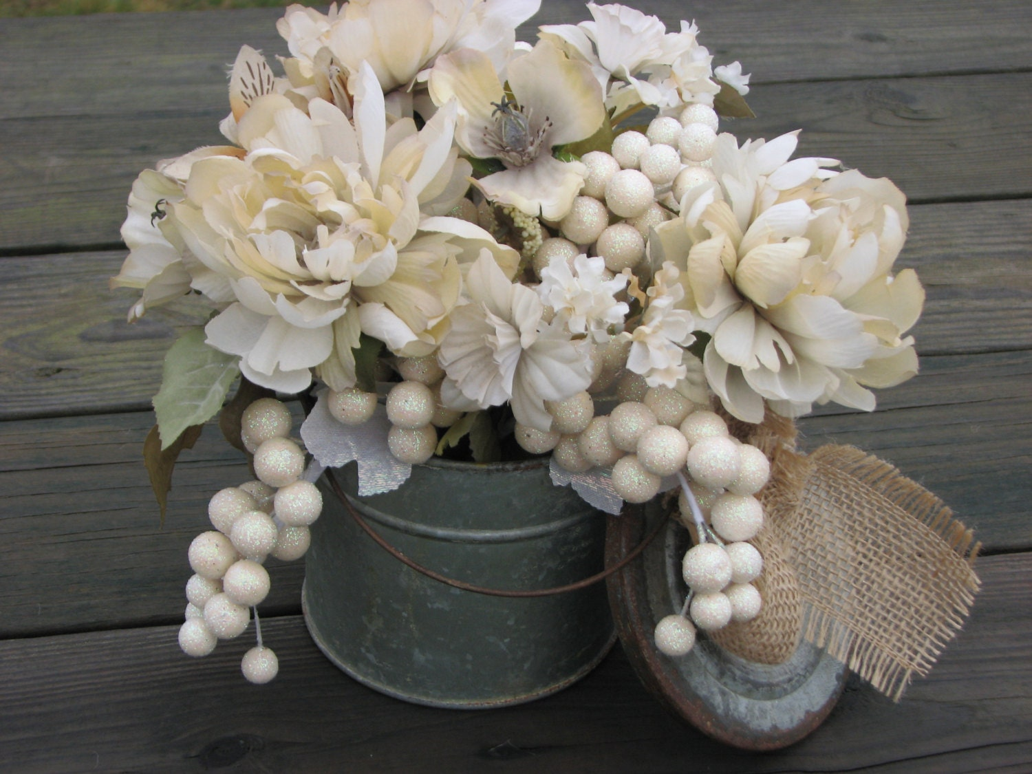 Rustic Ivory Centerpiece Shabby Chic floral arrangement ivory