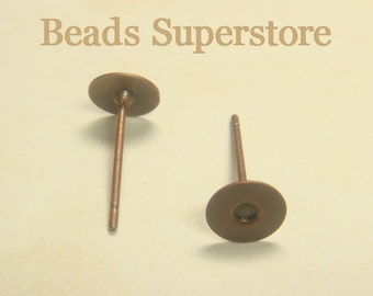 6 mm Antique Copper-Plated Brass Ear Stud - Nickel Free, Lead Free and Cadmium Free - 50 pcs