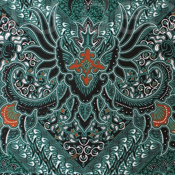 Green Orange Vintage Traditional Indonesian Batik
