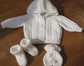 White Hand Knitted, Hooded Baby Jacket, Bootees and Mittens Set