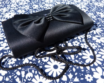 Black satin evening clutch shoulder bag with big bow and white rhinestone details - French 80s vintage