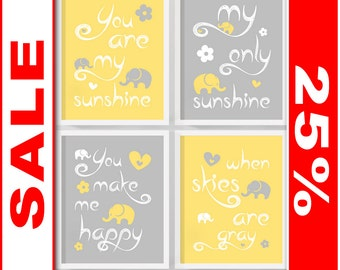 SALE you are my sunshine baby decor yellow gray, sunshine nursery quotes, my sunshine nursery, elephant nursery wall art, nursery song print