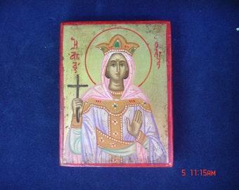 byzantine icon  saint olga handpainted orthodox
