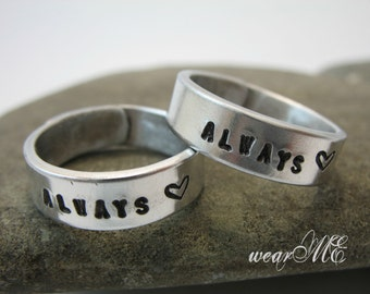 Always Love Rings.. Personalized Couple rings.. Couple Ring Set.. Custom Hand Stamped, Aluminum Rings..YOu WiLL LOvE ThEm...