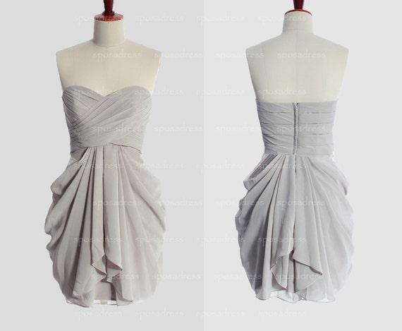 Grey Bridesmaid Dress Cheap Bridesmaid Dress Short By