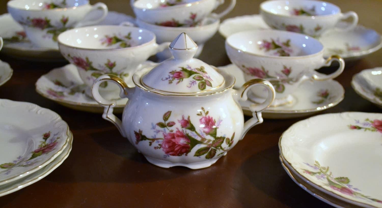 tea set vintage roses wallpaper - photo #23