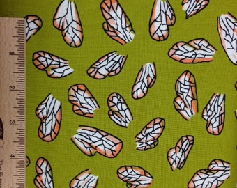 Terrie Mangat The Bee's Knees fabric Bee's Wings TM20 Mustard Green Insect quilting sewing fabric 100% cotton fabric by the yard free spirit