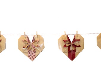 Garland Kraft - 11 hearts origami on a cord about 2 m garland