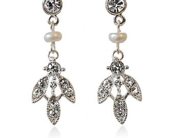Delicate Freshwater Pearl & Diamante Leaf Drop Earrings  Silver or Gold Options