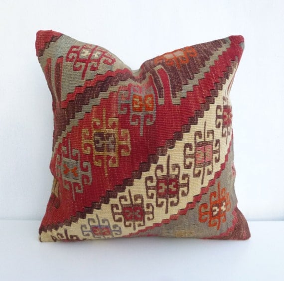 Kilim Rug Cream: Terracotta And Cream Kilim Pillow Cover Made With By