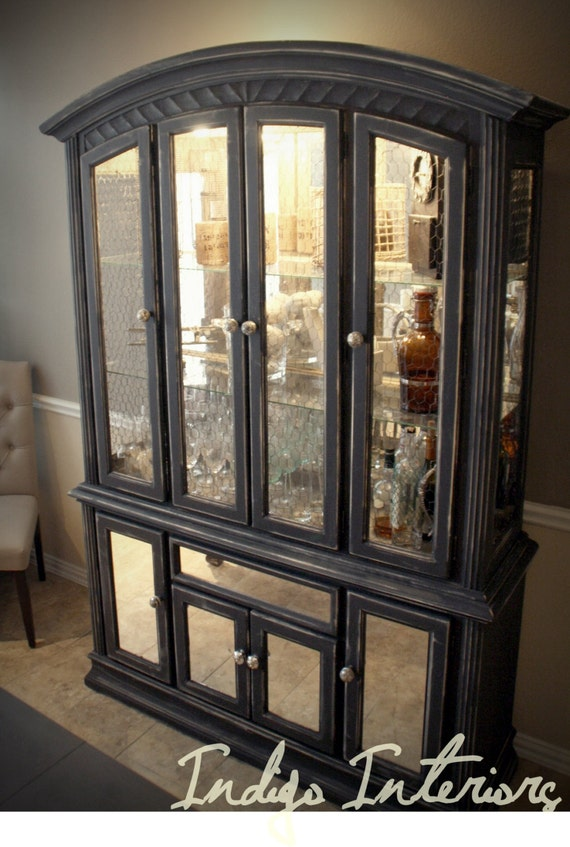Custom Order Only Distressed Black Mirrored China Cabinet