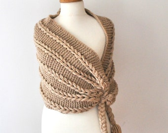 Beige Knit Shawl Womens knit Shawl Chunky knit scarf Gift under 75 usd Custom colors Shawl for Her for mom