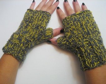 Fingerless Gloves Knitted Fingerless Gloves women fingerless Mitts Yellow Gray Mittens Wristwarmers, handmade accessories Winter Accessories