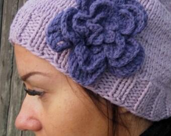 BLACK FRIDAY SALE! Ready to ship! Knitted purple Beanie Hat, purple hat women winter hat Hand Knit Hat Womens Hat, crocheted flowers,
