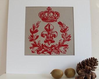 Hand-Painted Fleur de Lis Print