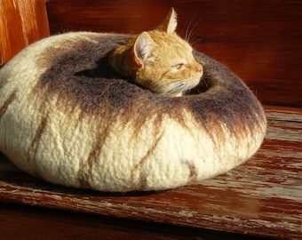 Felted Cat Bed / Cat Cave / Cat Den / Cocoon/  Cat House /With blends of white and brown and GIFT