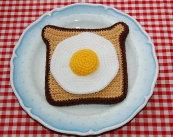 Crochet Pattern for Fried Egg on Toast / Breakfast - Play Food, Toy Food