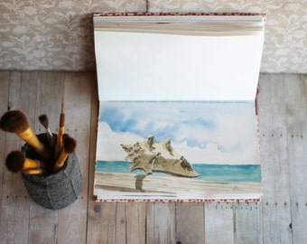 """Painting. Original watercolor painting """"Shell"""" with signature."""