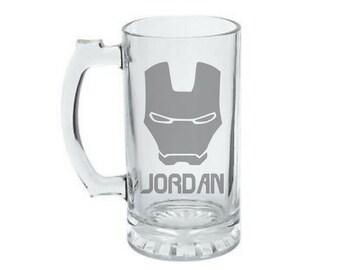 Iron Man Mug - PERSONALIZED Iron Man Mug - Iron Man Mug - Iron Man Beer Mug - Etched Iron Man