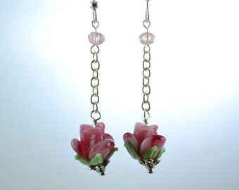 Pink Rose Dangle Earrings, Victorian Earrings, Lampwork Rose Beads, Pink Crystals, Valentine's Day Gift, Rose Earrings, Mother's Day, E1195