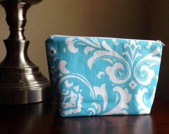 Makeup bag, cosmetic case, zipper pouch, clutch - Aqua blue turquoise damask