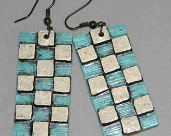 Earrings Distressed Boho Polymer Clay Mid Century Modern Jewelry Women Casual Dangles PANTILE by ArtCirque Donna Pellegata