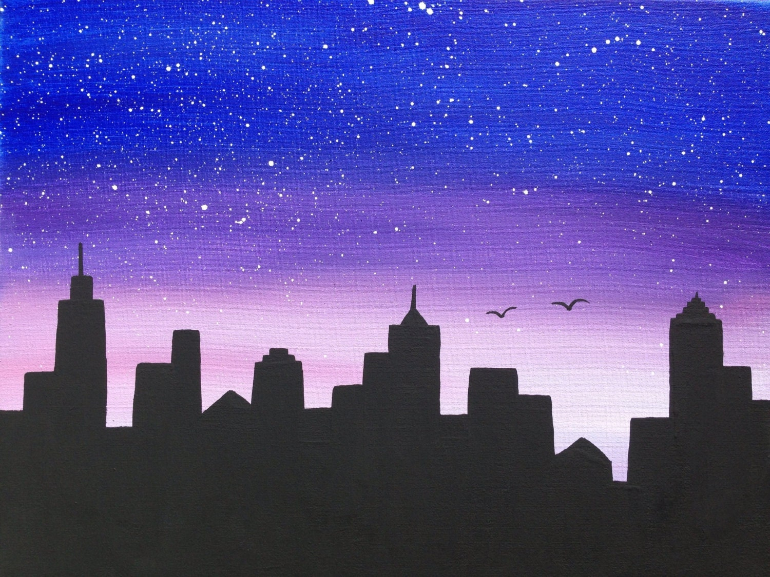 Cityscapenight scenesilhouette16x20black paintingblue