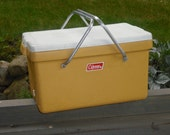 SALE price reduced.  VINTAGE Coleman Harvest Gold Retro Cooler With Aluminum Handles. Mid Century, Good Vintage Condition. Tailgate ready