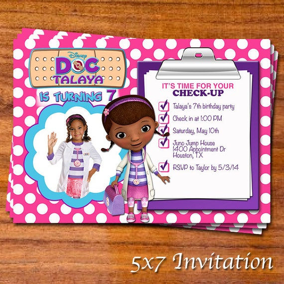 Doc McStuffins Party Invitation by RedVelvetParties on Etsy