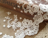 Cotton Tulle Lace Trims Off White Embroidery Lace Fabric for Floral, Sewing, Costume, Supplies