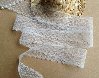 4 Yards Lace Trim, White Wedding Lace, Narrow French Lace Edging, Doll Dress Trim