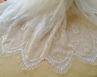 White Wedding Fabric Retro Eyelash Floral Lace Fabric Embroidered Floral Fabric By The Yard