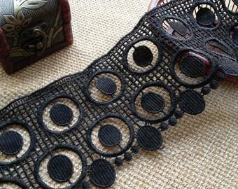 Graceful Circle Lace, Vintage Black Lace Trim, Black Lace Dress, 13cm width 1 Yard
