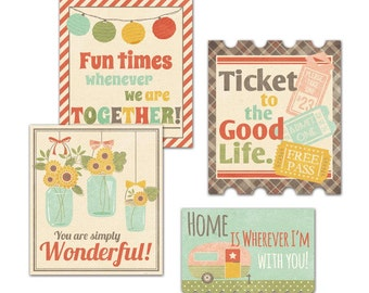 Fancy Pants Happy Go Lucky Cardstock Title Pieces 4/Pkg - 2021