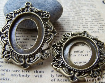 5 pcs of Antique Bronze Lovely Oval Cameo Base Settings Match 20x27mm Cameo  A3191