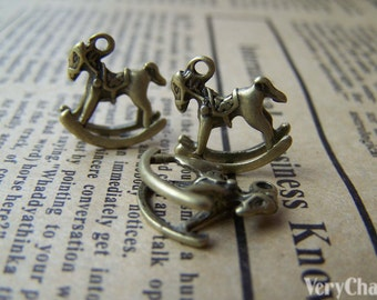20 pcs Antique Bronze Toy Rocking Horse Charms 15x15mm A3399