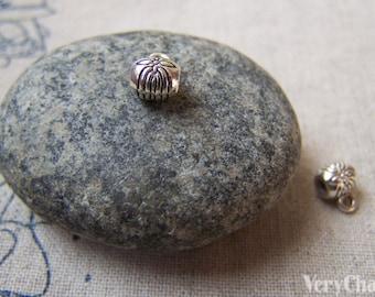 20 pcs Antique Silver Small Flower Necklace Drum Bails 6mm A5721