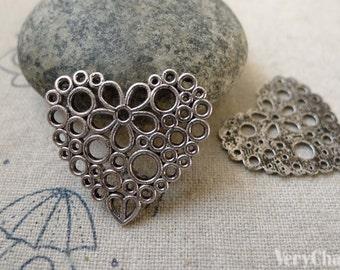 Bubble Hearts Antique Silver Filigree Flat Charms 24mm Set of 10 pcs A6309