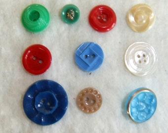 Ten Vintage Buttons