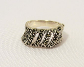 Vintage Sterling Silver Marcasite Band Ring Size 6.5
