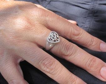 Ornate Sterling Heart Ring Size 8