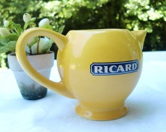 French Vintage RICARD pitcher , bistro ,water pitcher,pastis,aperitif small,ceramic